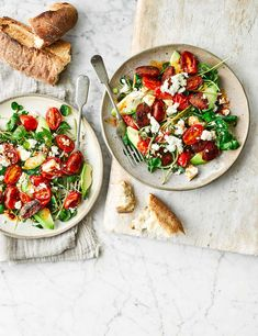 Assemble this colourful trio of ingredients and serve with a punchy dressing to make a vibrant midweek meal for two Easy Salad Recipes, Easy Salads, Healthy Eating Recipes, Vegetarian Recipes, Cooking Recipes, Healthy Meals, Healthy Food, Dinner Recipes, Yummy Food
