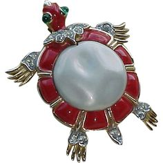 CrownTrifari Faux Pearl Red Green Gold tone Turtle Vintage 1960s Ming Collection