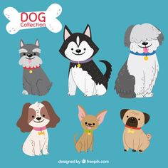 Cute pack of six hand-drawn dogs Free Vector