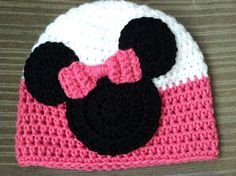 Crochet Minnie Mouse Inspired Beanie by JazzyCraftyCreations,