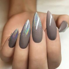 Your daily dose of the hottest NAIL TRENDS and finest NAIL ART by artists from all over the world! : Your daily dose of the hottest NAIL TRENDS and finest NAIL ART by artists from all over the world! Gray Nails, Matte Nails, Dark Nails With Glitter, Dark Purple Nails, Subtle Nails, Purple Gray, Purple Glitter, Acrylic Nails, Hot Nails
