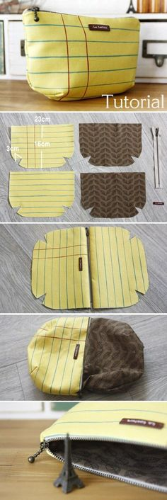 Cosmetic Pouch Bag Tutorial DIY A pouch for makeup and for me. (Lined Zippered Pouch / DIY Makeup Bag Pattern