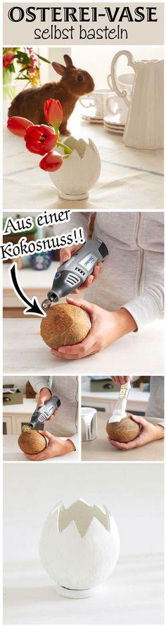 Für diese Vase musst du kein Ei kaputt machen – sondern eine Kokosnuss. Die Vase ist sehr einfach zu machen und schmückt deinen Ostertisch im Nu. Blümchen kannst du darin sogar gießen, denn die Kokosnuss ist dicht! Wir zeigen, wie man die ausgefallene Vase selbst bastelt.