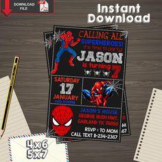 Spiderman Invitation, Spiderman Birthday, Spiderman Printable, Spiderman Editable, Spiderman PDF, Spiderman party birthday, Spiderman edit, You will recieve PDF Editable files. • 4x6 inches invitation • 5x7 inches invitation • Instructions how to edit text Open the PDF file in