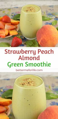Are you looking for a delicious new green smoothie? This strawberry peach almond green smoothie will be one of your favorite go-to green smoothies. Find the recipe on http://BetterMeforLife.com