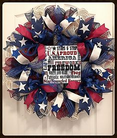 Americana Star Of July Deco Mesh Wreath/Patriotic Wreath/Memorial Wreath/Solider Wreath/Labor Day Wreath Patriotic Words, Patriotic Images, Patriotic Wreath, 4th Of July Wreath, The Middle Show, 4th Of July Decorations, Burlap Ribbon, Deco Mesh Wreaths, Blue Ribbon