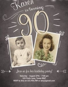 Most recent No Cost Birthday Invitations Suggestions Did you know there are actually over 31 zillion a few moments inside a year? If you're an mother o 90th Birthday Invitations, 90th Birthday Parties, Birthday Invitation Templates, 90 Birthday, Birthday Ideas, Birthday Greeting Cards, Happy Birthday Cards, Birthday Greetings, How To Make Invitations