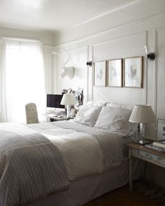 I love this bedroom and actually have that same grey and white polka dot comforter  Cozy Corner Apartment | A Cup of Jo
