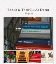 Books & Their Ilk As Decor: Furniture, stairs, decorative or functional items, and the like made from or made to resemble books, book pages, or other print media. Excludes traditional bookshelves and bookcases, as they have their own boards. [See them listed here: http://pinterest.com/suziholler/category-2-book-library-related-boards/.]