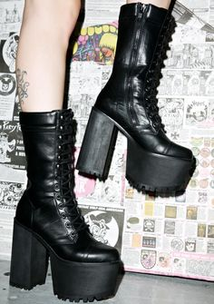 Y.R.U. Apexxx Boot cuz yer on a whole 'nother level, babe. Show 'em that yer god-tier in these incredible black 100% vegan leather platform boots, featurin' a tapered rounded toe, exxxtra tall treaded heels 'n platform, grommet and wrap lace ups, and full length side zip closure for a slim 'n flattering fit.