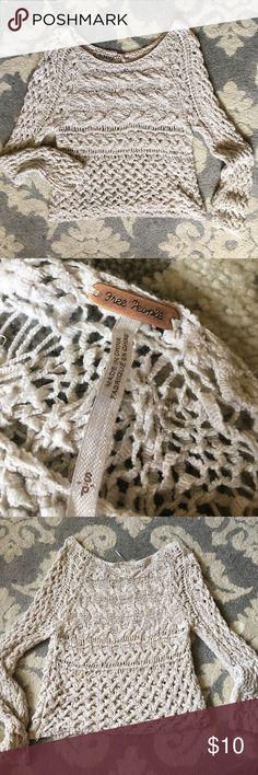 Free People Crochet Sweater Free People cream crochet sweater Free People Sweaters Crew & Scoop Necks