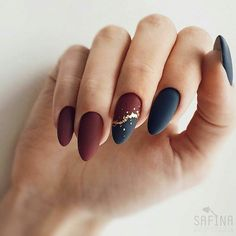 Fall Nail Art Designs, Black Nail Designs, Matte Nail Designs, Fun Nails, Pretty Nails, Navy Nails, Burgundy Nails, Navy Nail Art, Blue Gel Nails