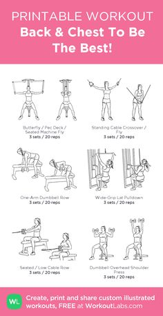 fitness Workouts chest - Back & Chest To Be The Best! Chest Workout Women, Gym Workout Plan For Women, Gym Workouts Women, Gym Workout For Beginners, Chest Workouts, Bike Workouts, Swimming Workouts, Swimming Tips, Cycling Workout