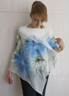 Your place to buy and sell all things handmade - Felting - Nuno Felting, Needle Felting, Felt Flowers, Blue Flowers, Nuno Felt Scarf, Felting Tutorials, Mulberry Silk, Felt Art, Shibori