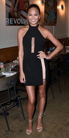 Chrissy Teigen in NBD Illusion Mock Collar Dress #style #revolve
