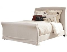 "ONE IN STOCK - Burkesville Queen Upholstered Sleigh BED: Headboard Dims- 65""W x 54""H x 9""D; Rental: $56; Buy: $369"