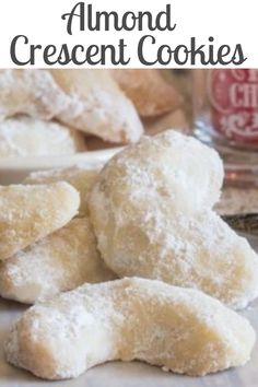Crescent Cookies These melt in your mouth Christmas Cookie Recipe are a must make.These melt in your mouth Christmas Cookie Recipe are a must make. Köstliche Desserts, Holiday Baking, Christmas Desserts, Dessert Recipes, Sweets Recipe, Christmas Parties, Christmas Treats, Italian Christmas Cookies, Snacks Recipes