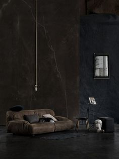 ✿ Black interior home deco Interior Exterior, Home Interior Design, Exterior Design, Room Interior, Architecture Design, Yellow Photography, Dark Walls, Dark Interiors, Home And Deco
