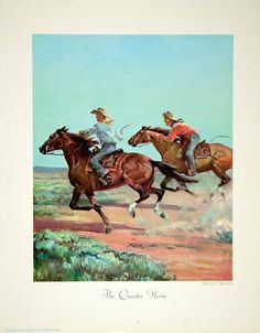 1964 Color Print Wesley Dennis Quarter Horse American Cowboy Riding Art Gallop