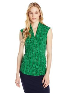 Vince Camuto Women's Sleeveless V-Neck Shirt in Abstract Pattern