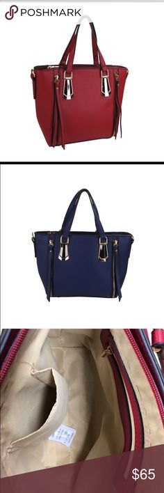 "NEW! Mini Tote Handbag Mini tote handbag with faux zipper tassels. Comes in dark red or blue.  -11.5""W x 8""H x 4""D -Material Faux leather  -5"" handle drop -Zip closure -Interior pockets: One zip & one slip -Exterior pockets: none -Studs on bottom. Bags Totes"