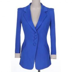 Single-Breasted Solid Color Polyester Modern Style Long Sleeves Blazer For Women