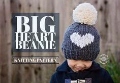 KNIT BIG heart Beanie PATTERN | Knitting Pattern | Heart Hat | Instant Download by HandmadeByPhanessa on Etsy https://www.etsy.com/listing/511947417/knit-big-heart-beanie-pattern-knitting