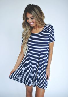 Striped Short Sleeve Tunic- Navy - Dottie Couture Boutique