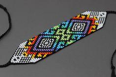 off loom beading stitches Beaded Cuff Bracelet, Seed Bead Bracelets, Loom Bracelets, Seed Bead Earrings, Beaded Jewelry, Beaded Belts, Bead Loom Patterns, Peyote Patterns, Jewelry Patterns