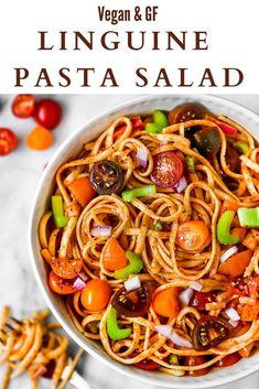 The best cold vegan linguine pasta salad! This gluten-free Vegan Dessert Recipes, Vegan Recipes Easy, Vegetarian Recipes, Linguine Recipes, Pasta Salad Recipes, Picnic Side Dishes, Summer Pasta Salad, Healthy Summer Recipes, Crowd