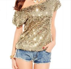 Sexy Inclined Shoulder Bat Sleeve Sequins T-Shirt