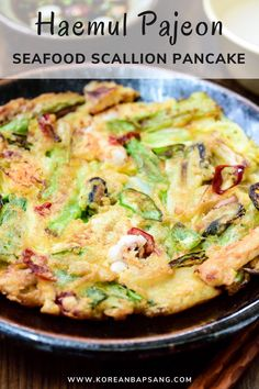 Haemul pajeon is a popular Korean savory pancake made with scallions and seafood. With this easy scallion pancake recipe, you can enjoy your restaurant favorite at home. #seafoodpancake #scallionpancake #dinner #koreanrecipe #koreanbapsang @koreanbapsang | koreanbapsang.com Scallion Pancakes, Savory Pancakes, Western Breakfast, Pancit Recipe, Spring Recipes, Brunch Recipes, Asian Recipes, Seafood