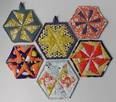 This is a beautiful workshop featuring the hexagon quilt patterns. Enjoy the hexagon quilted potholders, trivets, coasters and more.