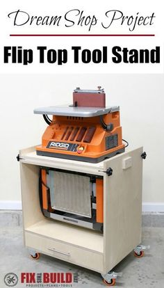 Learn how to build a Flip Top Tool Stand for your workshop! Use this cart for a planer and miter saw, sander and router, etc. and free up your workbench. Woodworking Projects Diy, Woodworking Shop, Woodworking Plans, Wood Projects, Woodworking Machinery, Workshop Storage, Tool Storage, Workshop Ideas, Storage Ideas