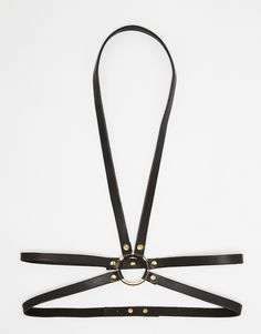 Image 1 ofBlack & Brown Leather Body Harness with Ring Detail