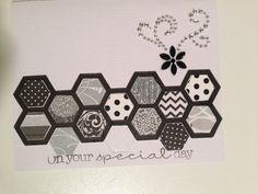 Easy handmade wedding card with Tim Holtz hexagon die.