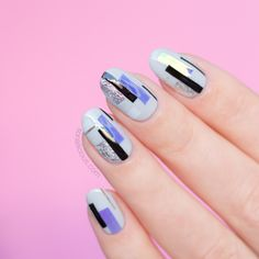 Grey nails with Silver Foil - Fall Nail Art Idea Pretty Nail Designs, Best Nail Art Designs, Fall Nail Designs, Acrylic Nail Designs, Acrylic Nails, Easter Nail Art, Fall Nail Art, Nail Art Diy, Simple Nails Design