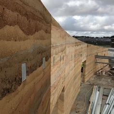 Rammed earth houses: Olnee Constructions' under construction image gallery Rammed Earth Homes, Rammed Earth Wall, Construction Images, Under Construction, Sustainable Building Design, How To Buy Land, Sustainability, Cob, Architecture