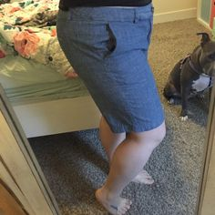 Merona Chambray Shorts Beautiful chambray Bermuda length shorts. Cute and perfect for dressing up or dressing down when the weather is warm! Merona Shorts Bermudas