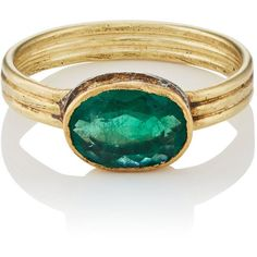 Judy Geib Women's Colombian Emerald Ring ($2,360) ❤ liked on Polyvore featuring jewelry, rings, no color, emerald jewelry, oval ring, handcrafted rings, band jewelry and emerald jewellery