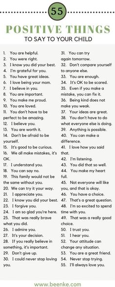 Build Confidence! 55 Positive Things To Say To Your Child - Beenke