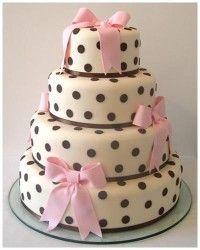 Polka dot & Pink bows Wedding Cake