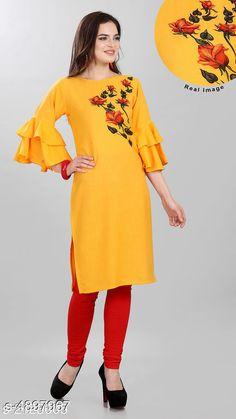 Kurtis & Kurtas Women's Printed Yellow Cotton Kurti Fabric: Cotton Sleeve Length: Three-Quarter Sleeves Pattern: Solid Combo of: Single Sizes: XL (Bust Size: 42 in Size Length: 52 in)  L (Bust Size: 40 in Size Length: 52 in)  M (Bust Size: 38 in Size Length: 52 in) Country of Origin: India Sizes Available: M, L, XL, XXL   Catalog Rating: ★4 (446)  Catalog Name: Trendy Pretty Kurtis CatalogID_716352 C74-SC1001 Code: 553-4897967-468