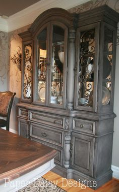 Coco Annie Sloan Chalk Paint & Black Coffee Metallic Glaze, painted and glazed hutch