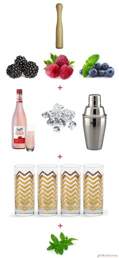 Sauza Sparkling Margaritas girls night with @lexi Holzberg Kritzer: muddle berries, mint, basil, and gold highball glasses #SauzaSparkling