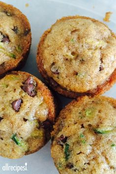 "Zucchini-Chocolate Chip Muffins | ""These muffins are packed with zucchini, chocolate chips, and walnuts and make a perfect on-the-go snack."""