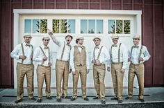 bow tie and suspenders vintage wedding | Groomsmen - Khakis, suspenders, vest, bow ties