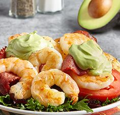 Avocado Salad Center I Avocados From Mexico Salad Recipes Healthy Lunch, Easy Salads, Healthy Salad Recipes, Avocado Salad, Prawn Salad, Homemade Honey Mustard, Grilled Prawns, Best Vitamin C