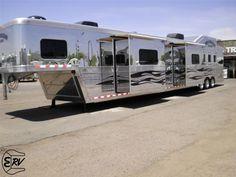 Huge horse trailer that I want Big Horses, Horse Love, Show Horses, Livestock Trailers, Horse Trailers, Rv Trailers, Horse Barns, Horse Tack, Gooseneck Trailer
