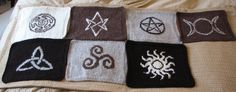 The blocks for a Magickal Symbols Throw ~ (I simply must make something with the Celtic triple knot design!)